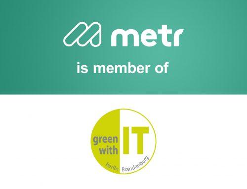 """metr ist Mitglied des Netzwerkes """"green with IT"""""""