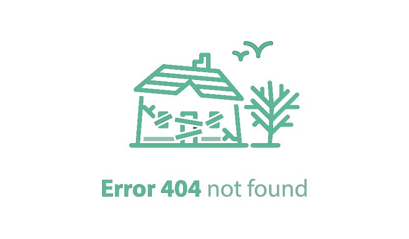 Zu sehen ist ein gezeichnetes verfallenes Haus, darunter die Bildunterschrift Error 404 not found.