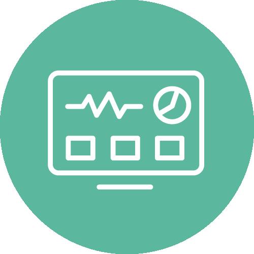 Ein Icon mit einem stilisierten Dashboard